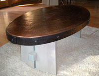 copper coffee table top with steel band