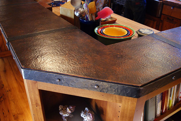 Copper Kitchen Island With Ahnd Forged Iron Banding ...
