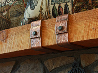 double hammered copper mantel straps