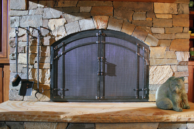 Awesome ... Wrought Iron Fireplace Doors With Hanging Fireplace Tools ...