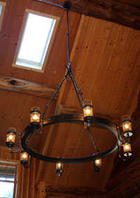Cabin chandelier from Ponderosa Forge