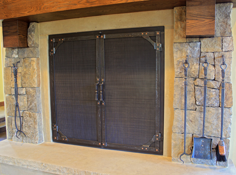 ... Wrought Iron Fireplace Doors With Gusset Corners