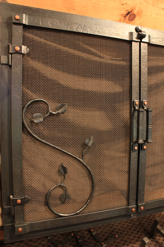 Hand forged fireplace door hinge option by blacksmiths at Ponderosa Forge - Fireplace Door Accents Ponderosa Forge & Ironworks