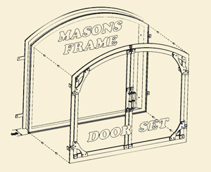 A sketch of how the original fireplace door system works