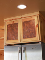 hammered copper cabinet inserts