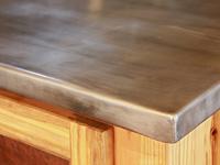 hand formed zinc countertop corner detail