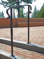 wrought iron grab railing with copper santa fe inserts