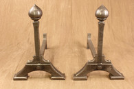 wrought iron pointed ball andirons