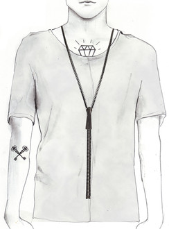Dark Silver Zip- IT necklace
