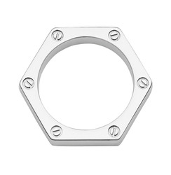 Silver Hex Ring with indented screw design