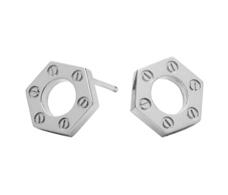 Hex Stud Earring in solid sterling silver