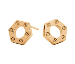 Hex Stud in gold tone