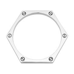 Hexagon Bangle in silver-plate