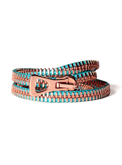Turquoise Copper Wrap Around Zip Bracelet - SOLD OUT!