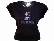 40 and Fabulous Swarovski crystal rhinestone t shirt