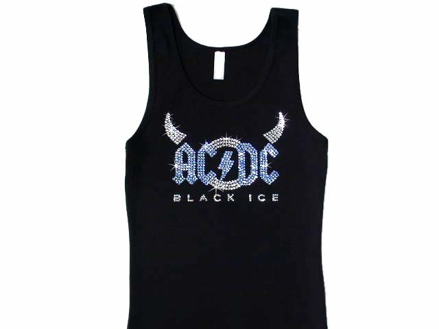 Ac dc black ice swarovski rhinestone t shirt or tank top for Swarovski crystal t shirts