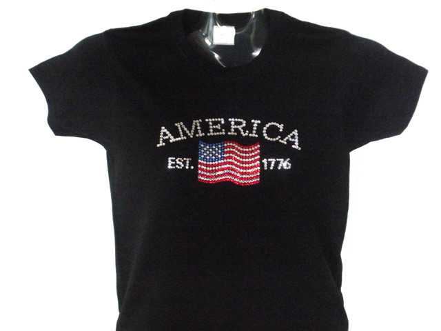 4th of july patriotic american flag swarovski crystal for Swarovski crystal t shirts
