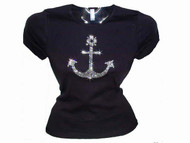 Nautical Boat Anchor Swarovski Crystal Rhinestone T Shirt Top