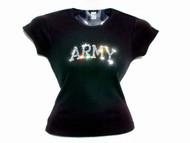 United States Army Swarovski Crystal Rhinestone Sparkly Military T Shirt Top