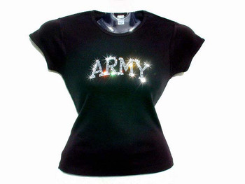 United States Army Swarovski Crystal Rhinestone Sparkly Military T Shirt Top