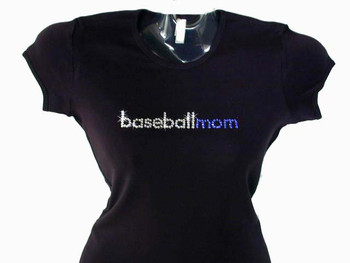 Baseball Mom Football Mom Soccer Mom Cheer Mom Bling Swarovski Crystal Rhinestone T Shirt
