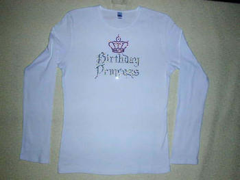 Birthday Princess Sparkly Rhinestone T Shirt