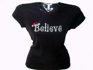 Believe Christmas Swarovski Crystal Rhinestone T Shirt