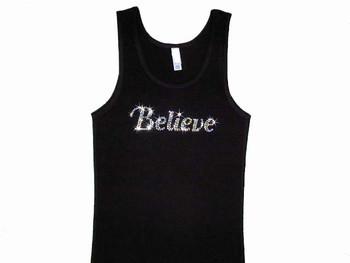 Believe Swarovski Rhinestone Bling Tank Top T Shirt