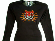 Bengal Tiger Swarovski Crystal Ladies Rhinestone T Shirt