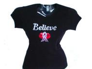 Believe PInk Ribbon Sparkly Swarovski Rhinestone T Shirt
