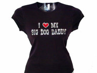 I Heart (Luv) My Big Dog Daddy Rhinestone T Shirt Design