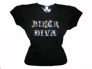 Biker Diva Motorcycle Swarovski Crystal Rhinestone Ladies T Shirt Top