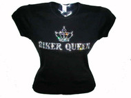 Biker Queen Motorcycle Swarovski Crystal Rhinestone T Shirt Top