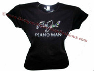 Billy Joel Piano Man Swarovski Crystal Rhinestone Concert T Shirt Top