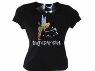 Tinkerbell Birthday Girl Bling T Shirt With Swarovski Rhinestones