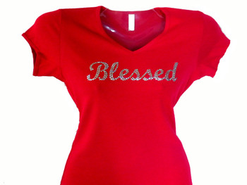Blessed swarovski rhinestone religious bling t shirt for Swarovski crystal t shirts