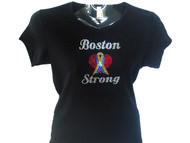 Boston Strong Swarovski crystal rhinestone t shirt