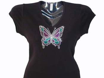 Butterfly swarovski crystal rhinestone sparkly bling t shirt for Swarovski crystal t shirts