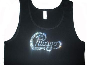 Chicago Band Logo Swarovski rhinestone tank top t shirt