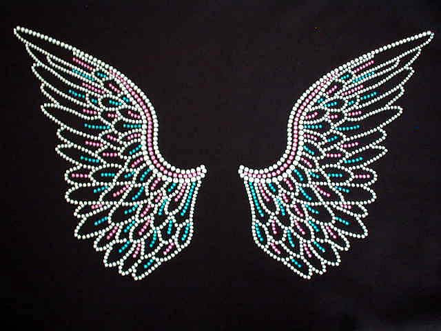 Colorful rhinestone angel wings sparkly bling t shirt for Swarovski crystal t shirts