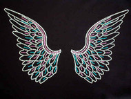 Angel wings Swarovski crystal rhinestone ladies t shirt