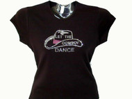 Let The Cowboy Dance Hat Swarovski Bling T Shirt