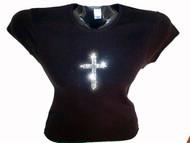 Christian Cross Rhinestone Bling T Shirt