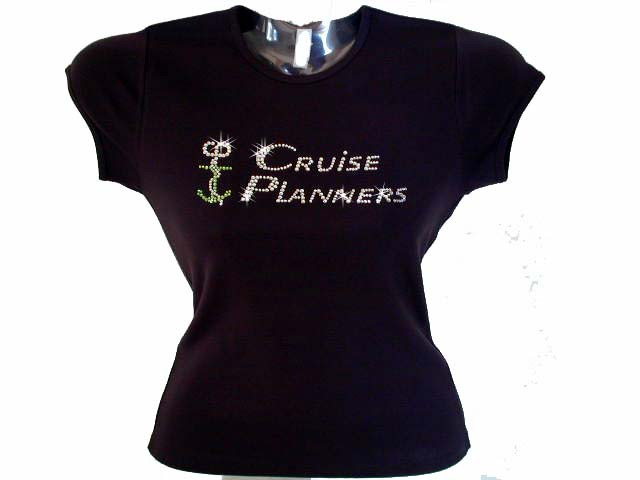 Custom cruise planners logo swarovski crystal bling t for Swarovski crystal t shirts