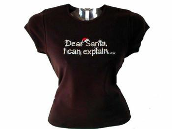 Christmas Dear Santa I Can Explain Swarovski Crystal Rhinestone T Shirt