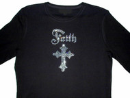 Faith Cross Religious Rhinestone T Shirt