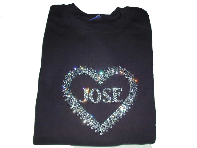 Bling heart t shirt rhinestone heart shirt custom name for Swarovski crystal t shirts