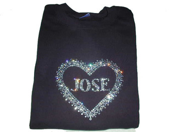 Bling Heart T Shirt Rhinestone Heart Shirt Custom Name