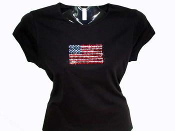 4th of July Patriotic American Flag Swarovski Crystal Rhinestone T Shirt