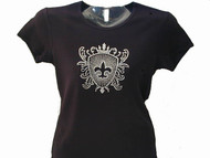 Fleur De Lis Crest Bling Rhinestone T Shirt made with Swarovski crystals